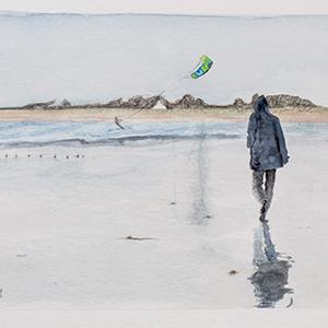 Balade sur la plage_Aquarelle