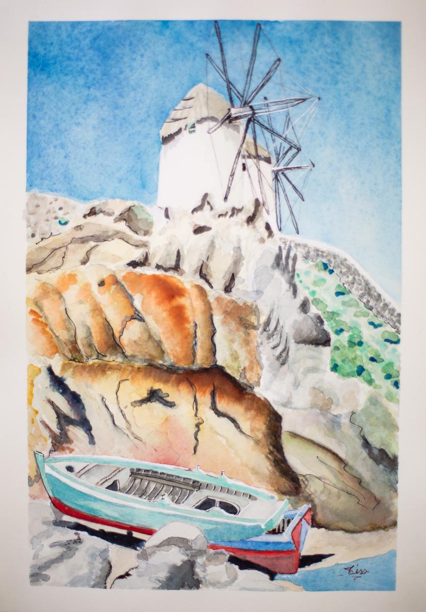 Paysage grec - aquarelle
