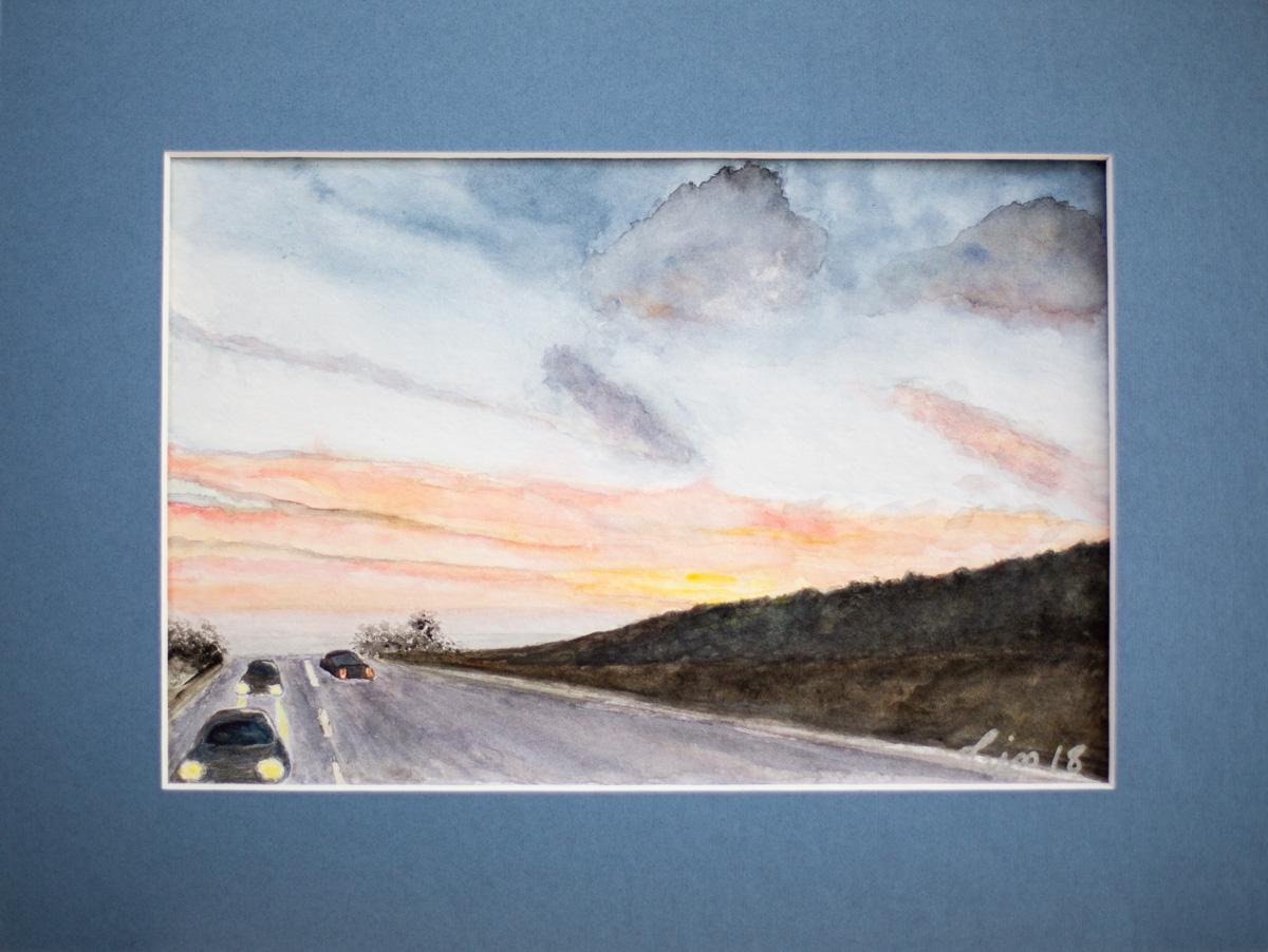 Paysage d'autoroute de nuit - aquarelle