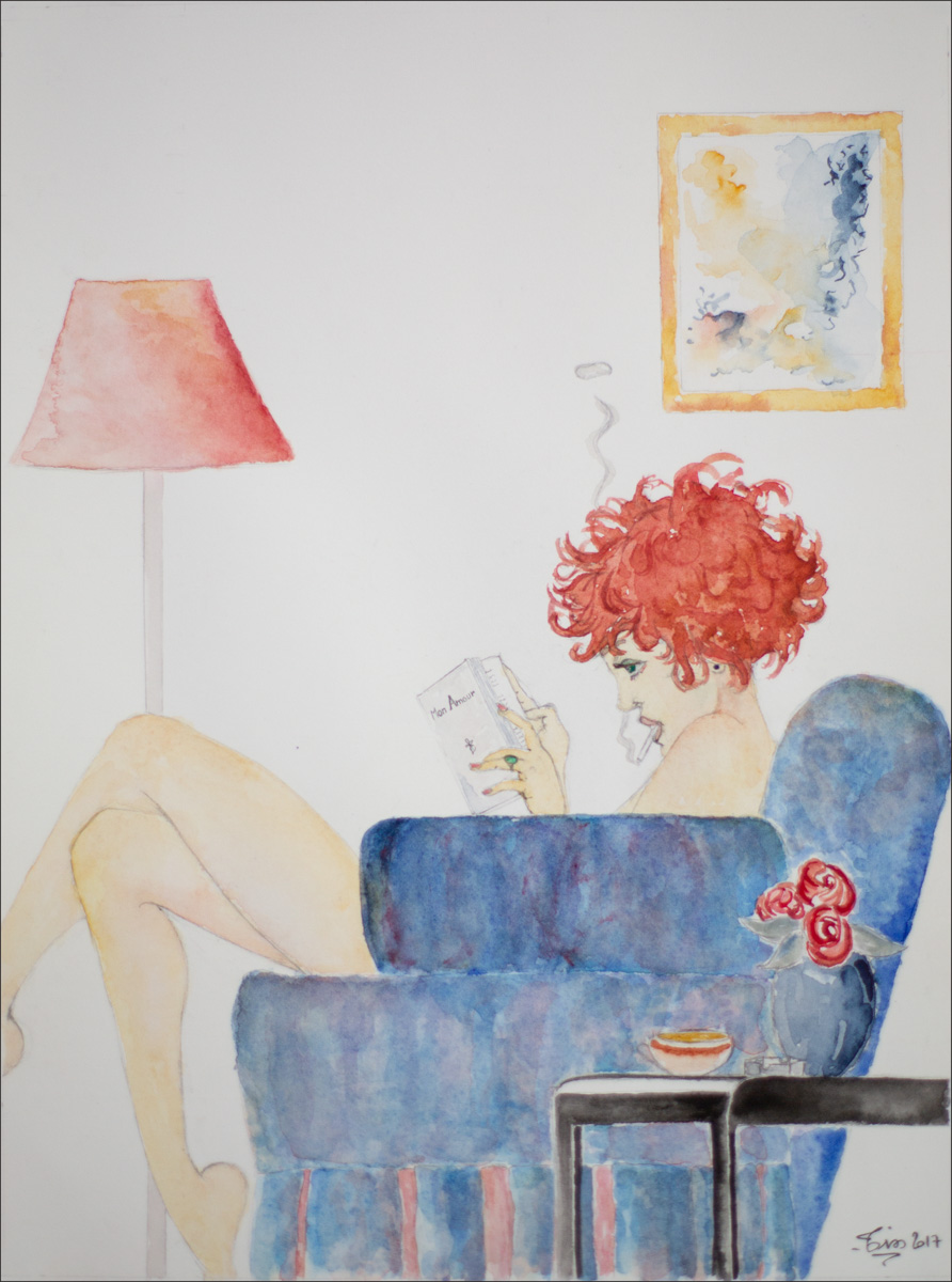 peinture d'une femme lisant - aquarelle