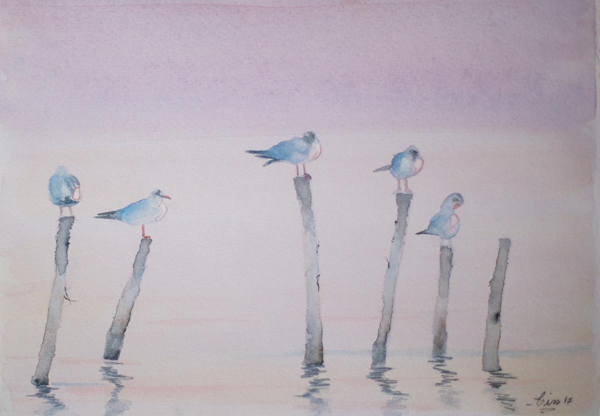 Oiseaux sur une branche - aquarelle
