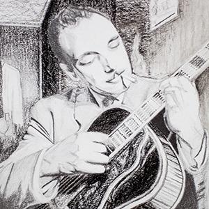 Portrait Django Reinhardt- crayon