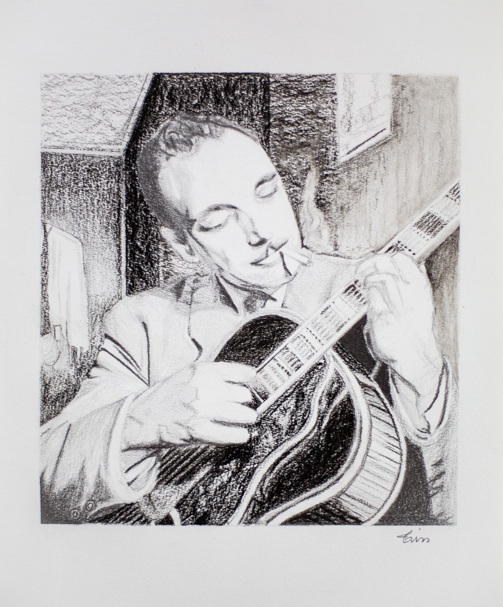 Portrait Django Reinhardt - crayon