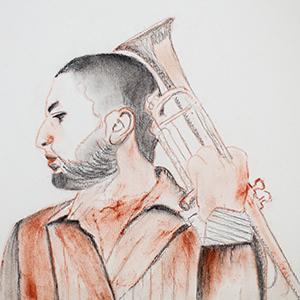 Portrait Ibrahim Maalouf - crayon