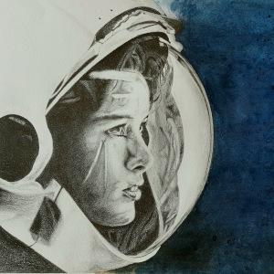 astronaute crayon encre bordeaux
