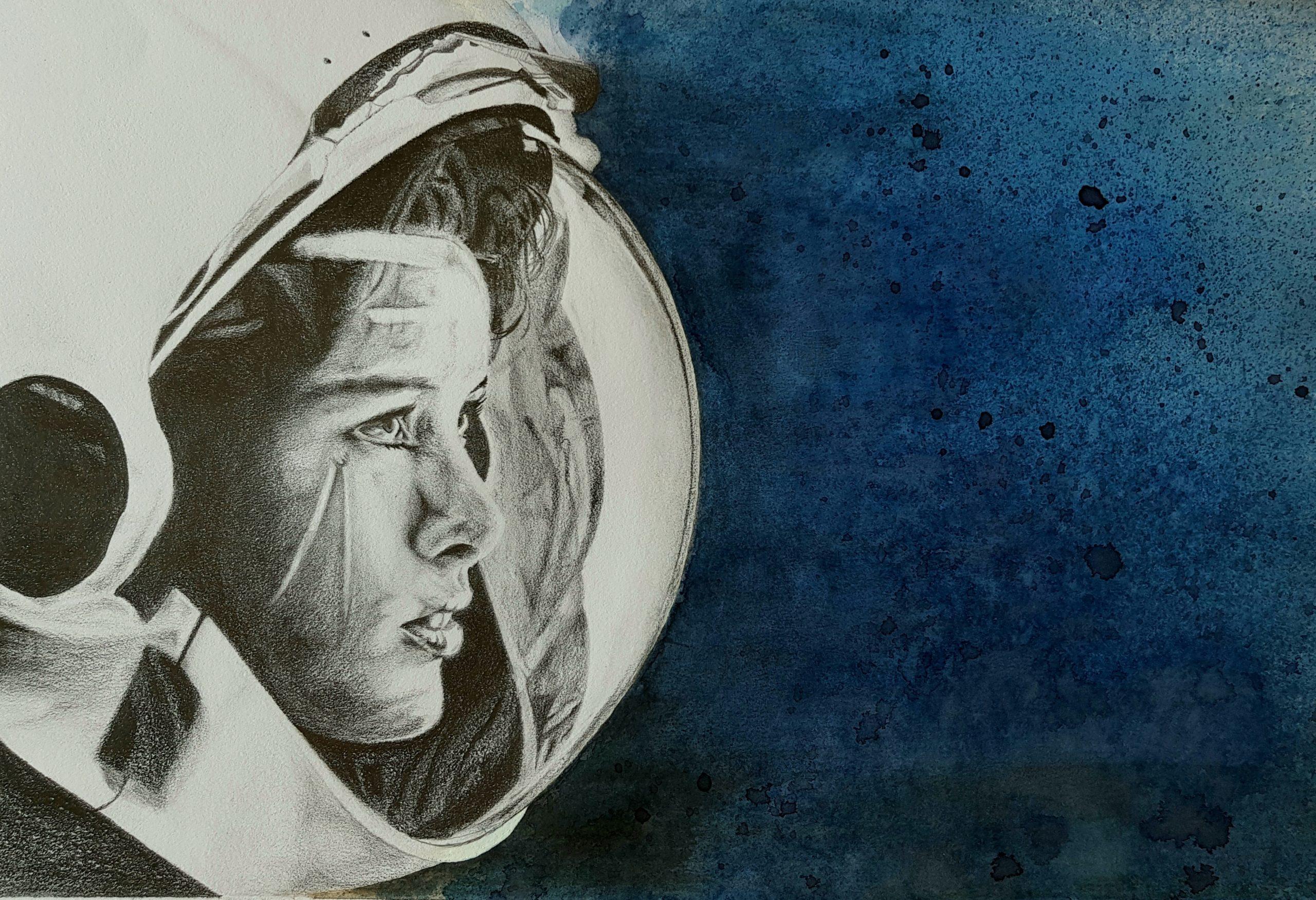 encre crayon femme astronaute