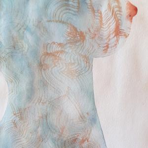 corps femme aquarelle tiss
